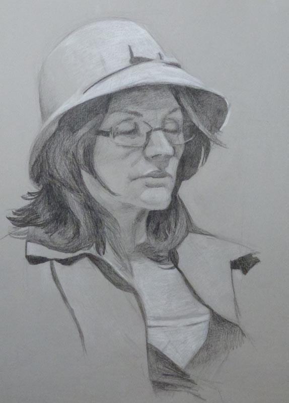 Portrait on grey paper